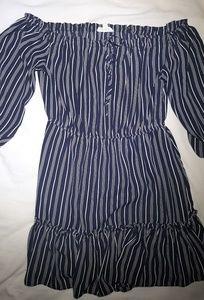 BB Dakota Half Sleeve Striped Mini Dress Medium